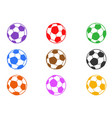 color soccer ball icons set vector image vector image