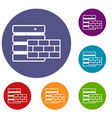 database and brick wall icons set vector image vector image