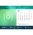 Desk Calendar Template for 2017 Year March Design vector image vector image