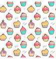 doodle pastel cupcake pattern seamless background vector image