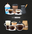 drinks menu elements on blackboard - coffee vector image vector image