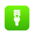 energy saving bulb icon digital green vector image vector image