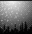 falling snow and winter city silhouette background vector image vector image