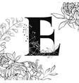 flower alphabet letter e pattern vector image vector image