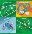 football 2x2 isometric design concept vector image