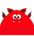 funny monster head with fang tooth and wings cute vector image vector image