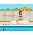 Girl in swimsuit on lounge near the pool vector image