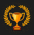 golden trophy cup on dark background first place vector image