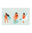 hand drawn cartoon summer time fun beach vector image vector image