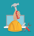 hand worker under construction with laptop vector image