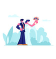 happy newlywed young loving couple bride vector image