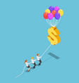 isometric business team pulling floating dollar vector image