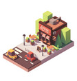 isometric pizzeria building vector image vector image