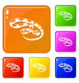 king snake icons set color vector image vector image