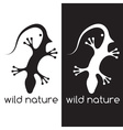 lizard and head of bird negative space concept vector image vector image