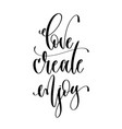 love create enjoy - hand lettering inscription vector image vector image