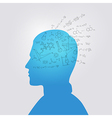 Mans head with education doodle vector image vector image