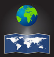 map the planet on a black background vector image vector image