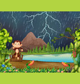 monkey in jungle with lightning vector image