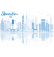 Outline Shanghai skyline with blue skyscrapers vector image vector image