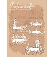 People at restaurant outdoor cafe - Hand drawn vector image
