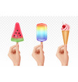 realistic hands holding ice cream cold sweets 3d vector image