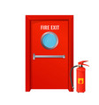 red fire exit with round circle and extinguisher vector image