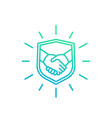 safe deal trust partnership icon with handshake vector image