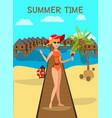 sea resort flat color vector image vector image