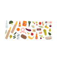 set different grocery food and drink products vector image