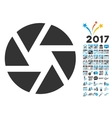 Shutter Icon With 2017 Year Bonus Pictograms vector image