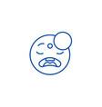 sleeping emoji line icon concept sleeping emoji vector image vector image