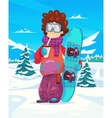 Snowboard resort holidays Snow background Flat vector image vector image