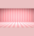striped candy pink studio backdrop with empty vector image vector image