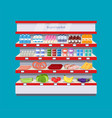 supermarket interior shelf vector image vector image