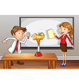 Teachers doing lab experiment in classroom vector image vector image