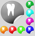tooth icon Set of eight multi colored round vector image vector image