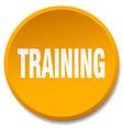 training orange round flat isolated push button vector image vector image
