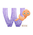 w letter and cute worm baby animal zoo alphabet
