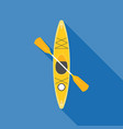 yellow kayak with paddle vector image vector image