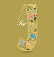 yellow letter j with floral decor and necklace vector image