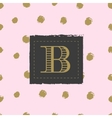Monogram on hand drawn ink background polka dot vector image