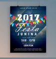 2017 festa junina flyer design template vector image vector image