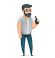 3d vape smoking geek hipster casual character icon vector image