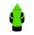 baby bottle sign green 3d icon with black vector image vector image