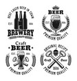 beer and brewery four emblems labels badges vector image vector image