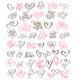 big set hand written lettering about love to vector image vector image