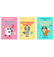 birthday invitation cards with cute animals vector image