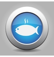 blue metal button - grilling fish with smoke vector image vector image