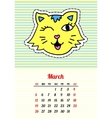 Calendar 2017 with cats March In cartoon 80s-90s vector image vector image